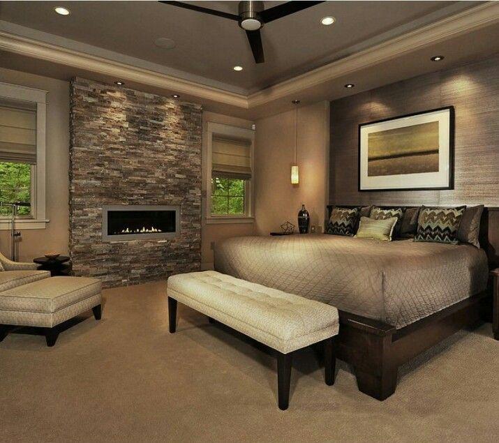 Love the fire place and wall decoracion dormitorios for Diseno deco habitacion para adultos