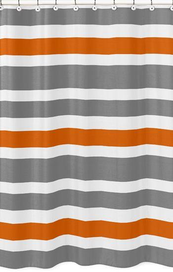 Modern Orange And Gray Fabric Bath Shower Curtain By Sweet Jojo Designs