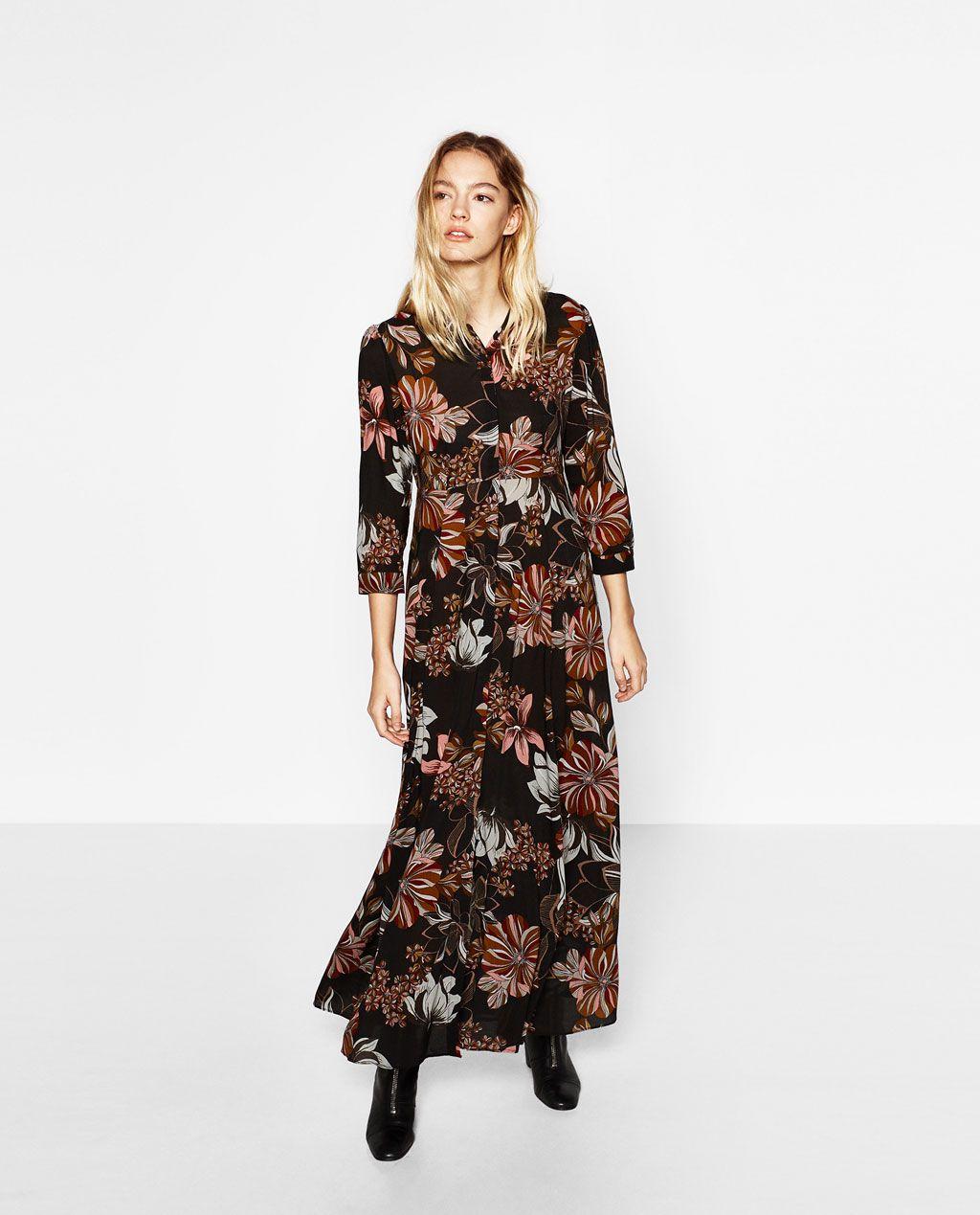 Long Dress With Floral Print Dresses Woman Zara United States Floral Print Dress Long Dresses Zara Dresses