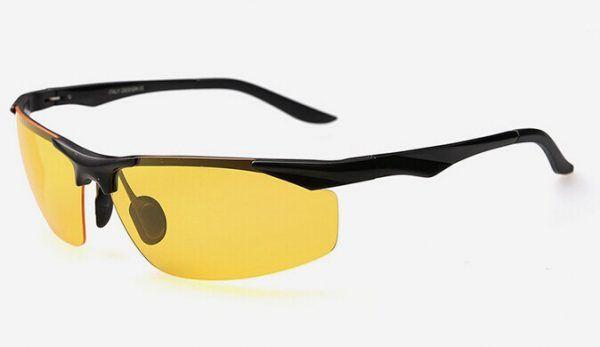 07fa31478 Pánske polarizované okuliare pre šoférov na jazdu v noci s čiernym rámikom3