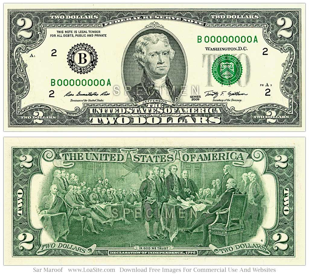 U S Two Dollar Bill