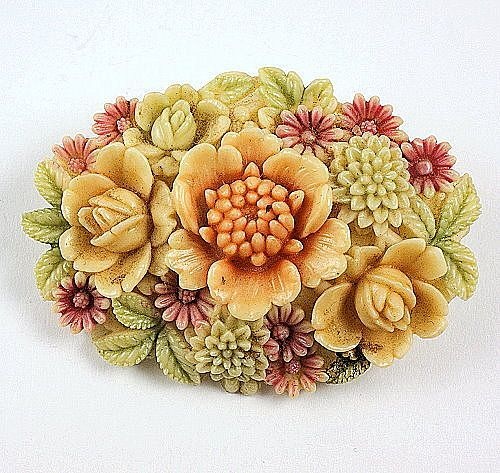 Tinted Celluloid floral brooch wonderful coloring primitive style clasp