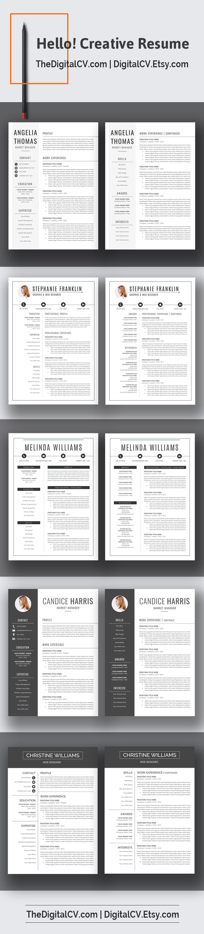 DigitalCV.Etsy.com > Creative and clean resume template with ...