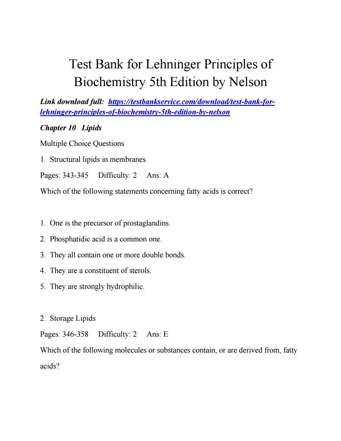 Test bank for lehninger principles of biochemistry 5th edition by nelson  Bioquímica