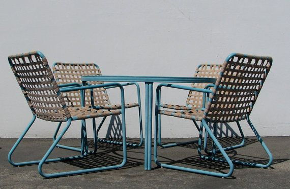 Charming Vintage Brown Jordan Lido Patio Set In Blue