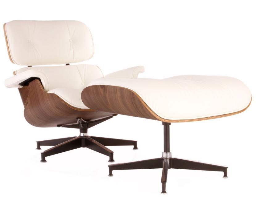 The Matt Blatt Replica Eames Lounge Chair And Ottoman   Premium Version  White