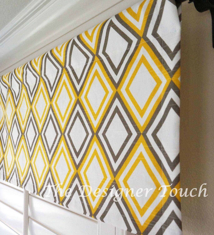 "Yellow Grey White Designer Window Treatments Valances 52"" x 15"