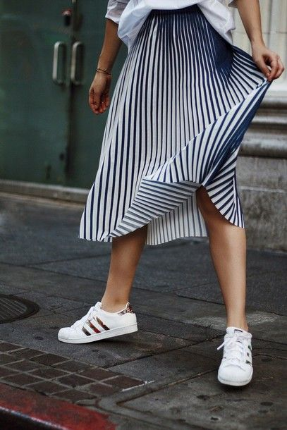 Skirt: tumblr midi stripes striped pleated pleated sneakers white sneakers  low top sneakers adidas