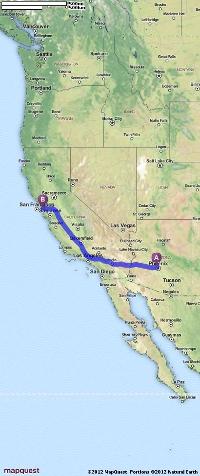Driving Directions from Glendale Arizona to San Francisco