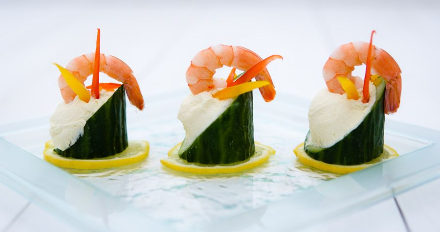 Canapés by Posh Nosh (East Midlands) Cucumber Cups with soft cheese and prawns www.poshnosheastmidlands.com