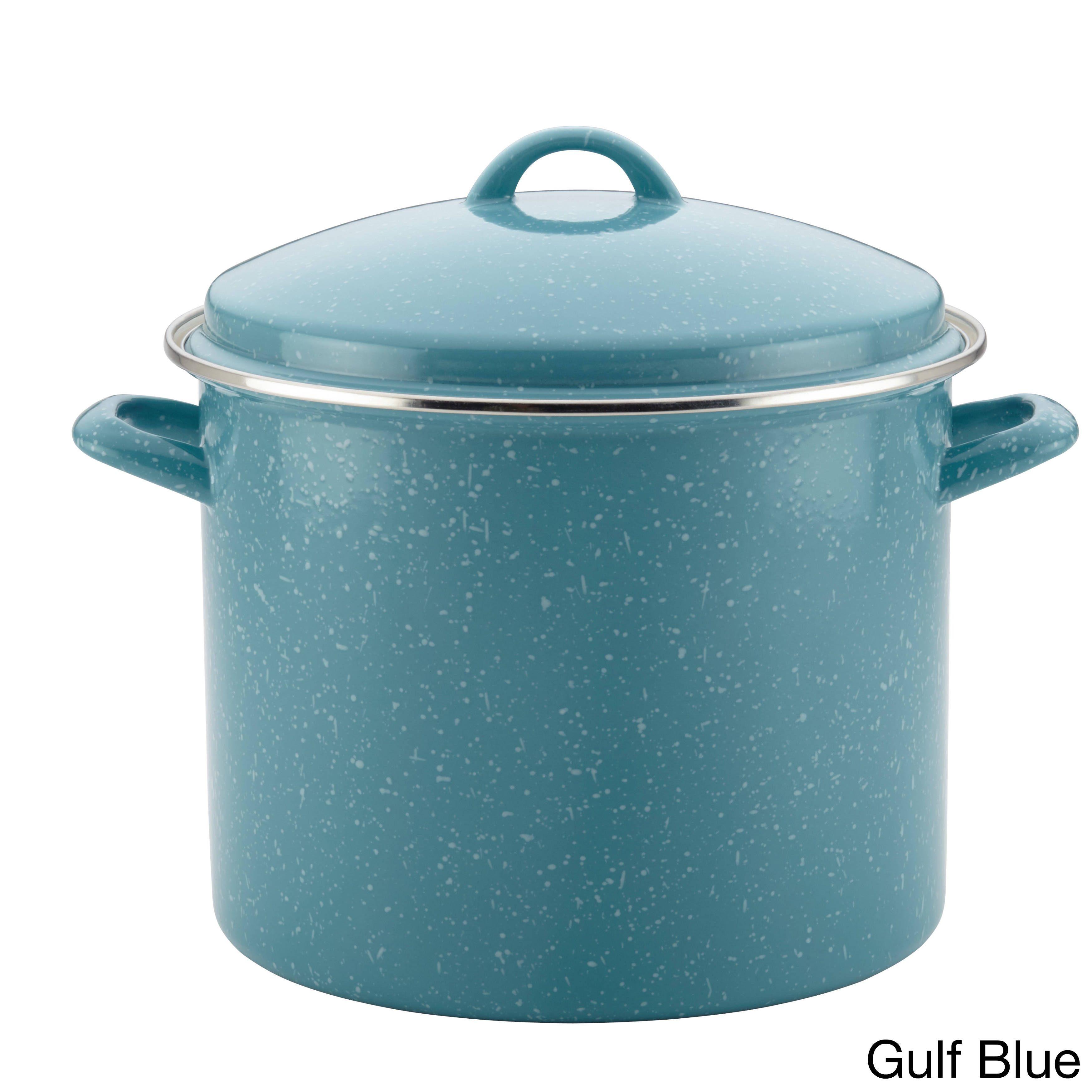 Paula Deen Enamel on Steel Covered Stockpot, 12-Quart (Gulf Blue Speckle), Size 12 Quart (Aluminum)