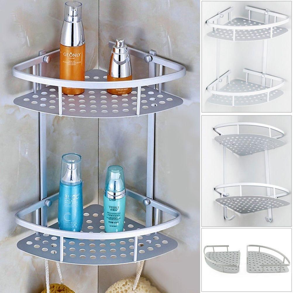 Aluminum 2 Tier Wall Shelf Shower Shelf Shampoo Holder Bathroom Corner Rack  Storage Holder Hanger