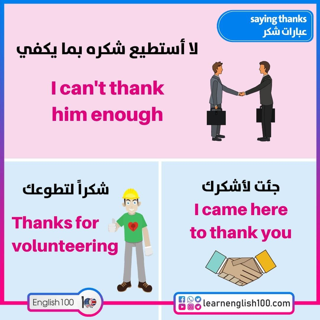 عبارات شكر بالانجليزي English 100 Thank You Volunteers Thankful Saving