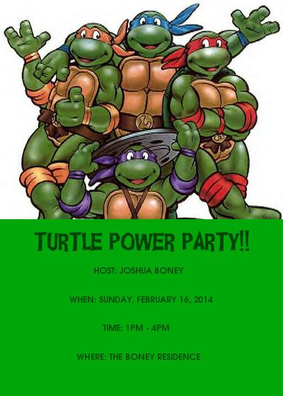 Free Ninja Turtles Birthday Invitations Template – Turtle Birthday Invitations