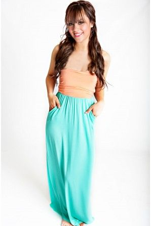 Tell Me I'm Cute Maxi Dress Apricot And Mint