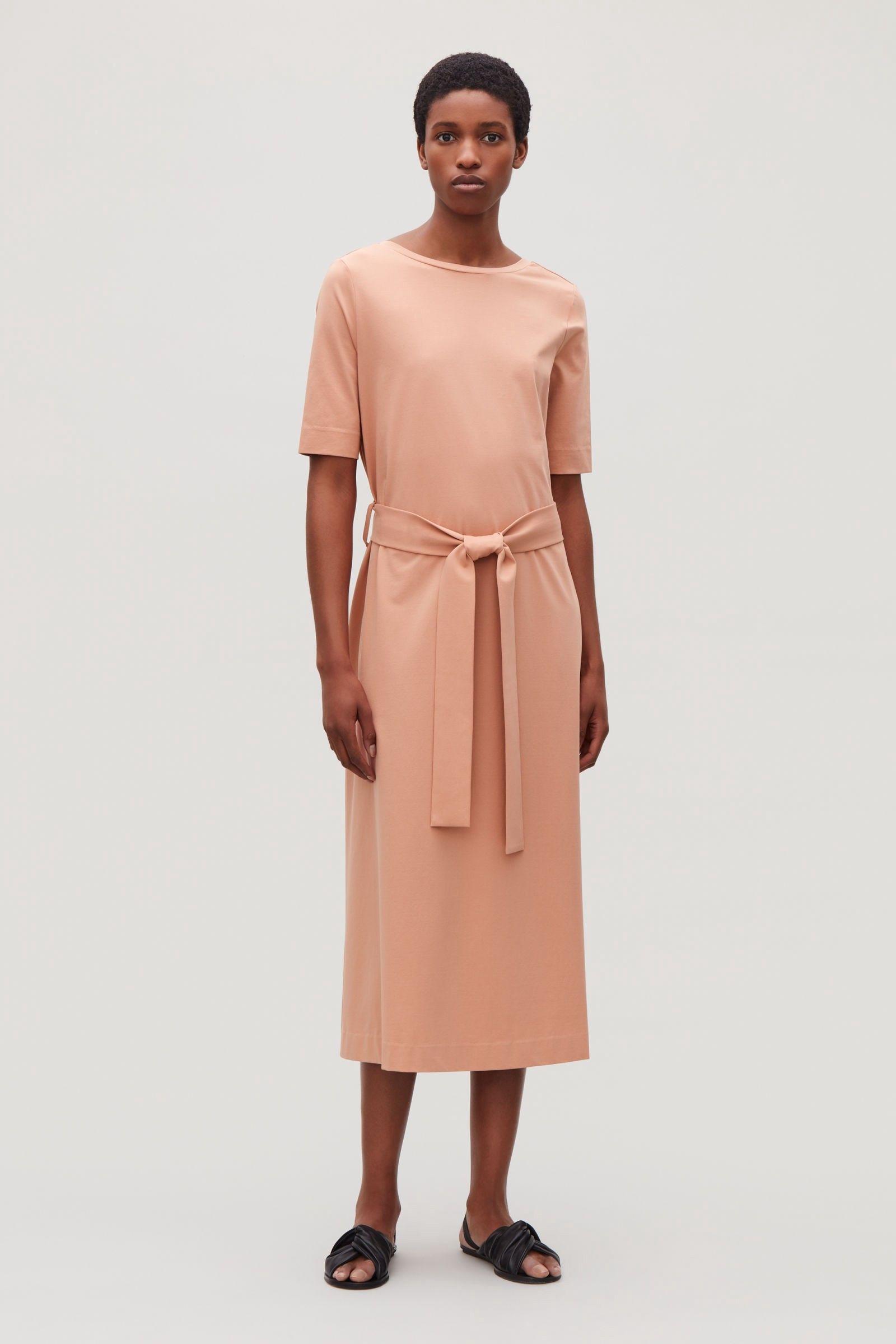 9e775d4532 Cos Long A-Line Jersey Dress - Orange XS