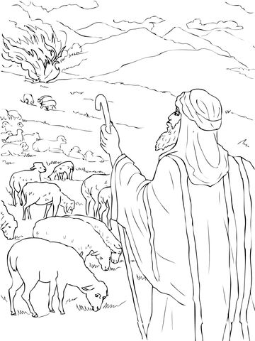 Moses Sees The Burning Bush Coloring Page Free Printable Coloring Pages Bible Coloring Pages Sunday School Coloring Pages Coloring Pages
