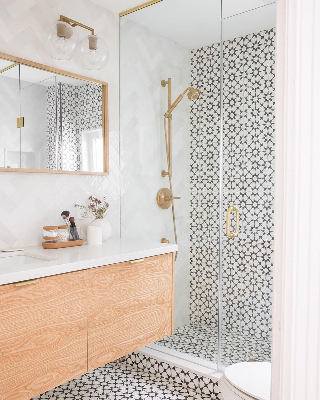 "Cement Tile Shop on Instagram: ""We love the way this bathroom tile flows through the room and up the shower wall! The in stock Atlas II pattern adds a perfect amount of…"""