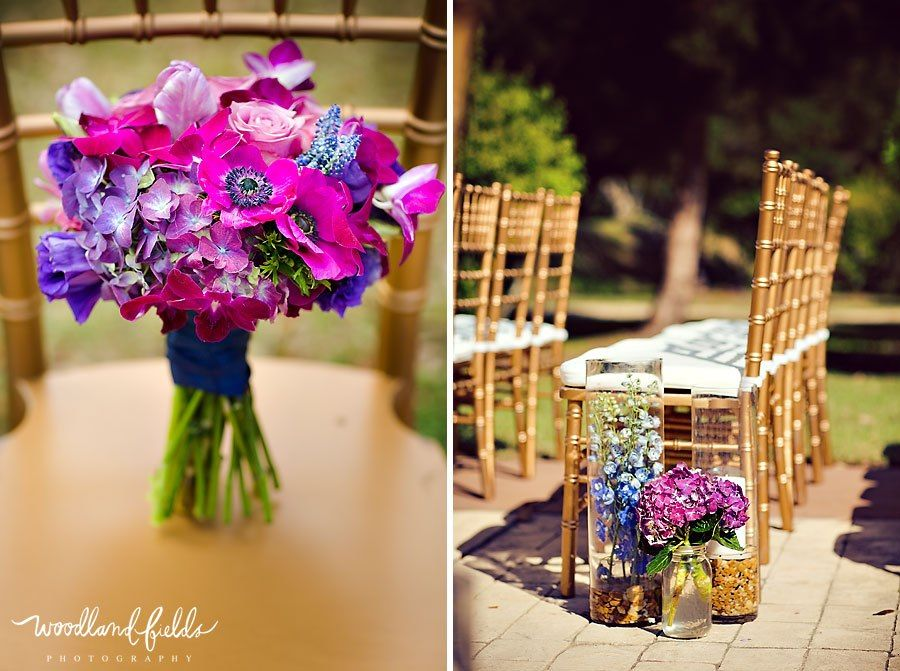 Modern Wedding Flowers Gold Inspiration With Purple Pink And Blue Bridal Bouquet