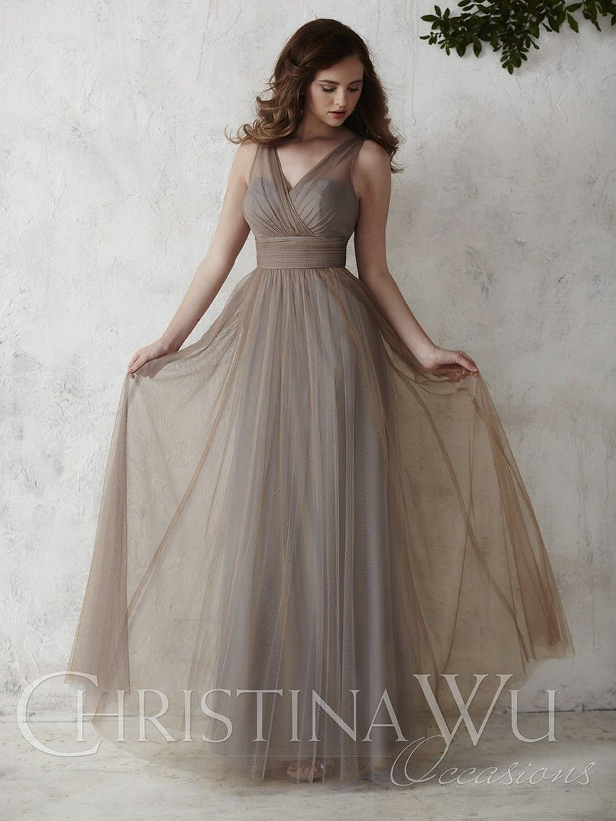 6b6da3a60b2 Christina Wu Occasions 22667 Tulle V Neck Bridesmaid Gown- This sleeveless  A-line full tulle overlay bridesmaid gown is complete with a V neck tank  style ...