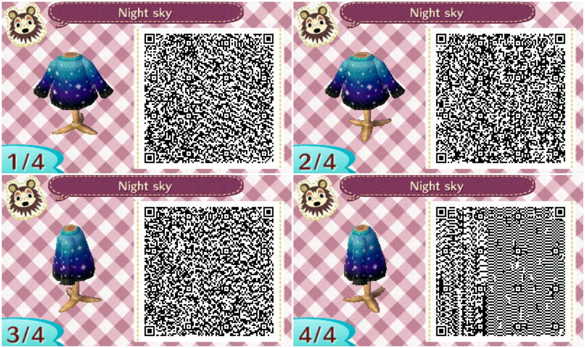 Préférence ACNL Night Sky sweater QR Code | Animal Crossing | Pinterest PQ78