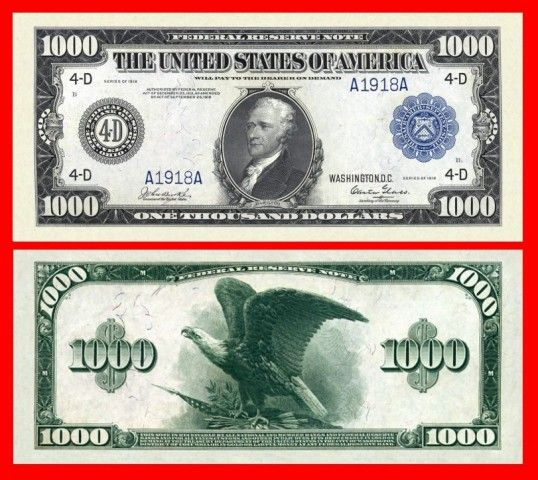 1000 Dollar Blue Certificate Money Notes Paper Currency Money Collection