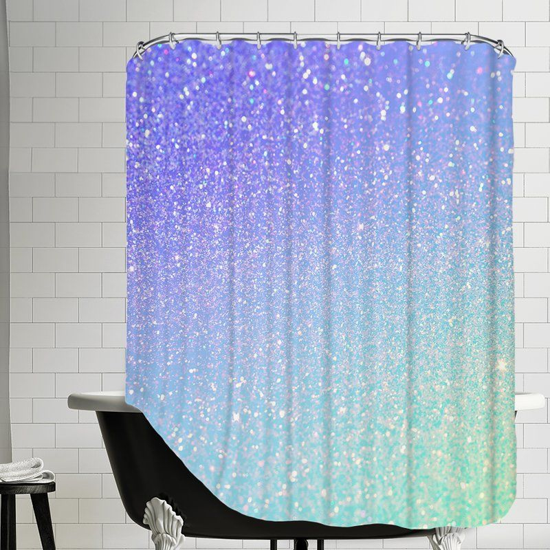 Glamour Shiny Sparkley Single Shower Curtain Tropical Shower