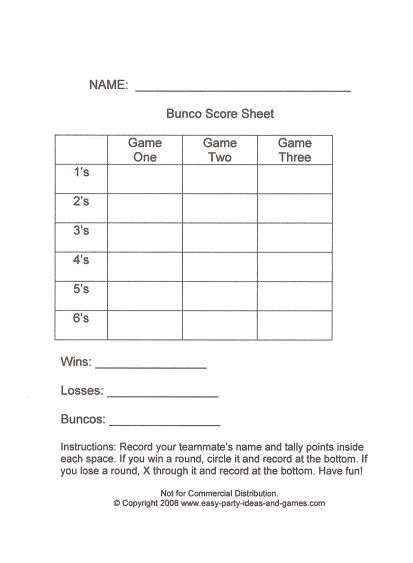 Bunco Score Sheets | Keeping A Master Tally At The Bottom Of Each