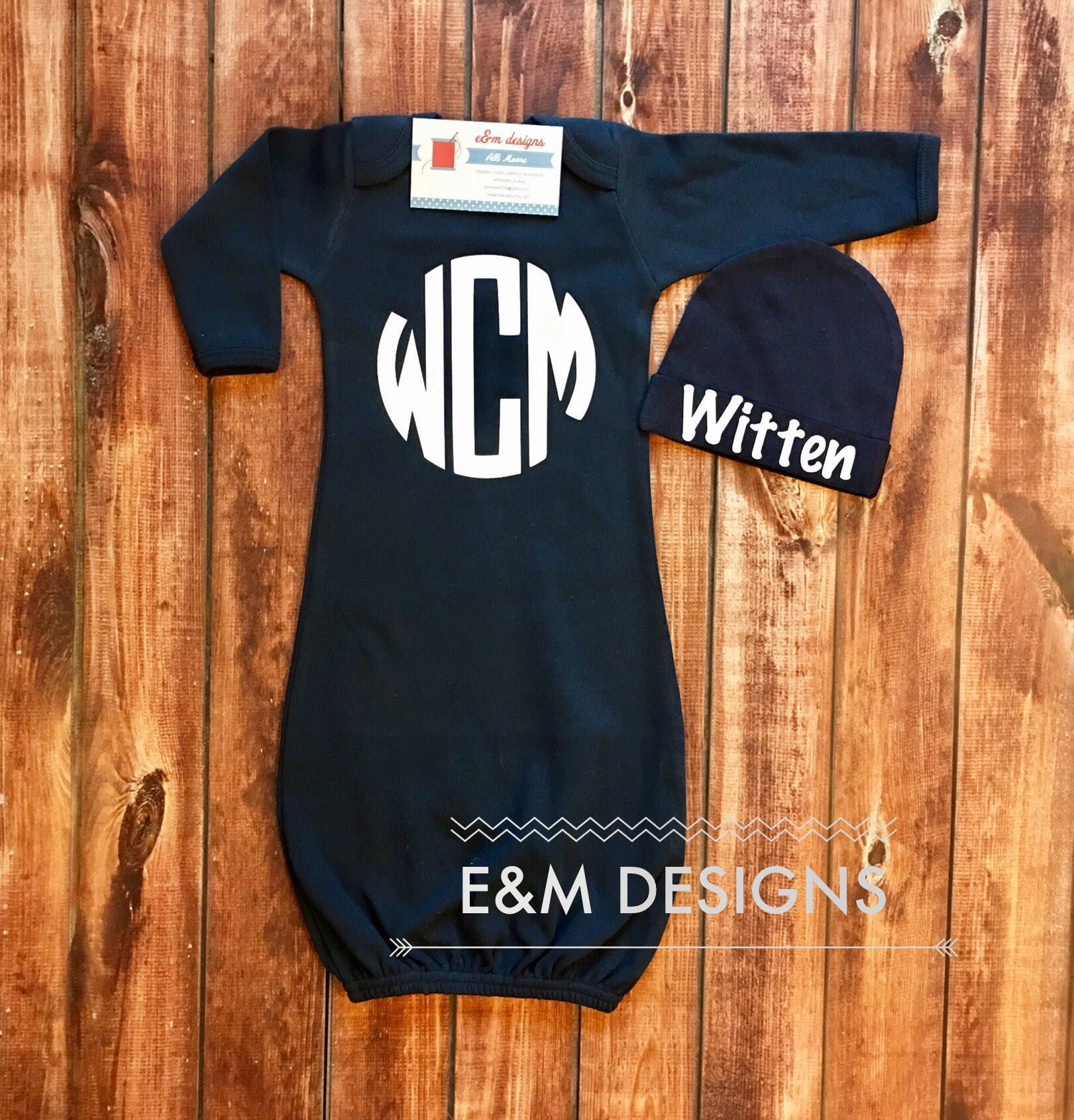 Boy Coming Home Outfit / Monogrammed Baby Boy Gown / Navy Gown ...