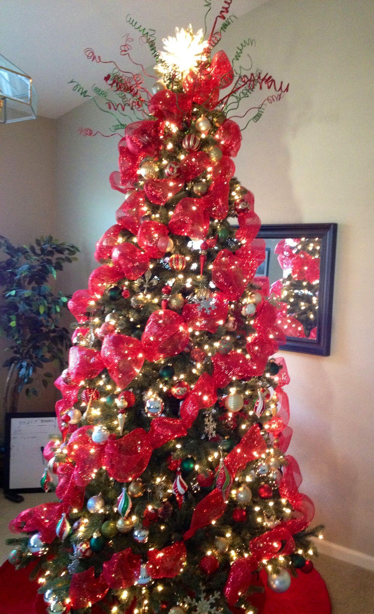 Deco Mesh Christmas Tree I Made Mesh Christmas Tree Ribbon On Christmas Tree Christmas Tree Mesh Ribbon