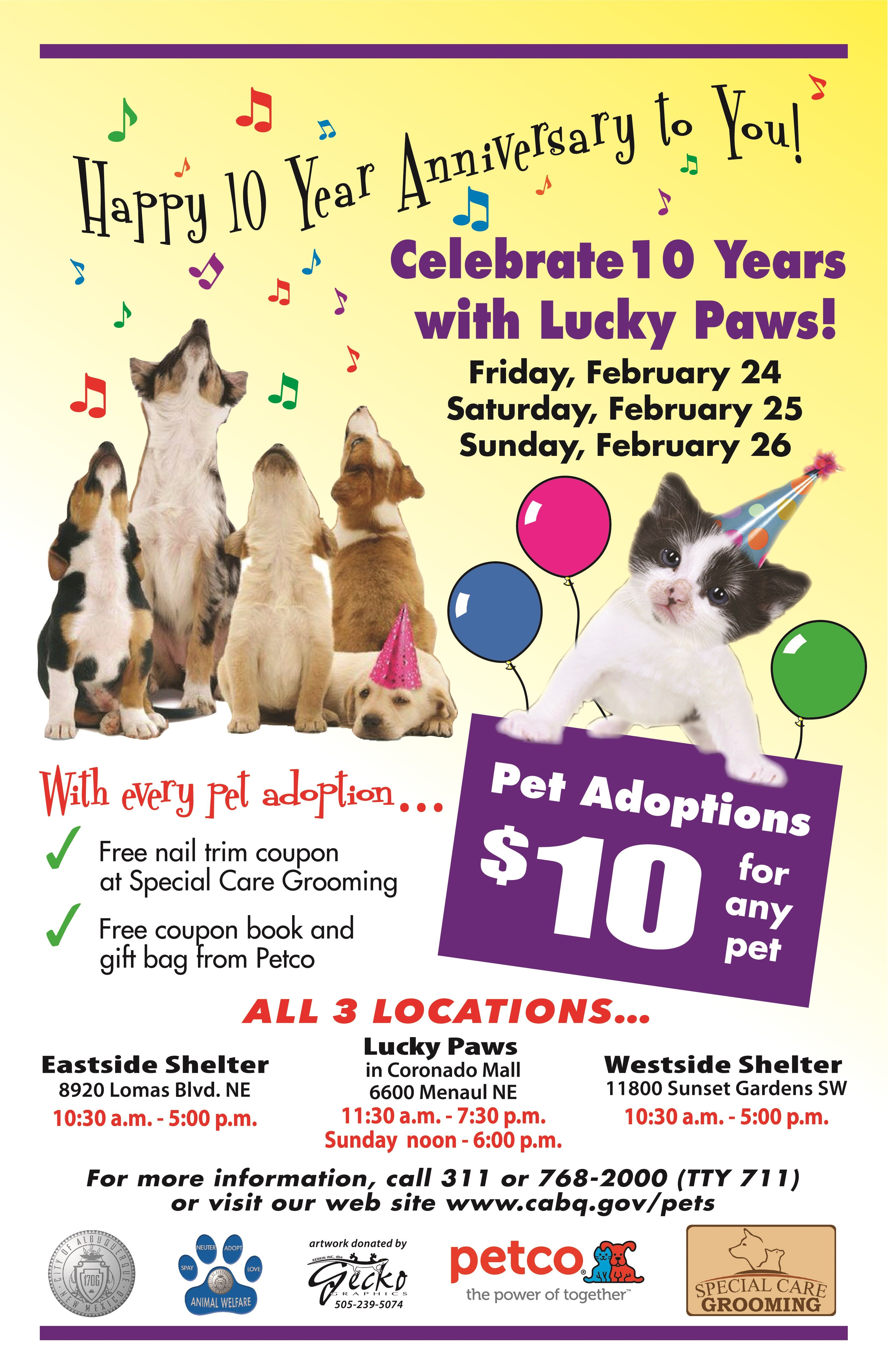 Lucky Paws Celebrates 10 Year Anniversary Come share in