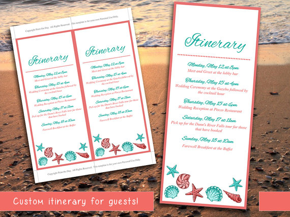 Beach Wedding Itinerary Template Wedding Planner Coral Teal