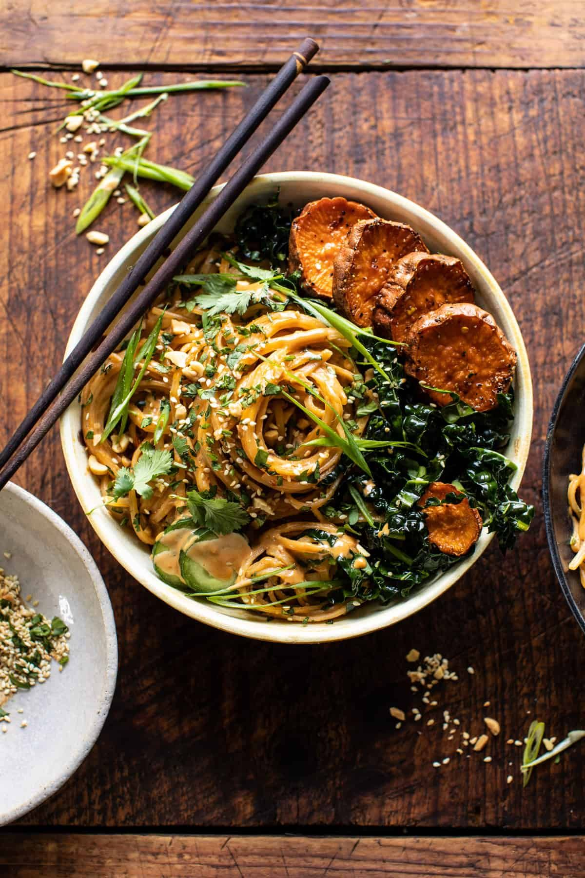 Easy, quick-cooking (30 min), Saucy Tahini Noodles with Honey'd Sweet Potatoes...the perfect colorful, healthy, saucy noodle to enjoy any night of the week!