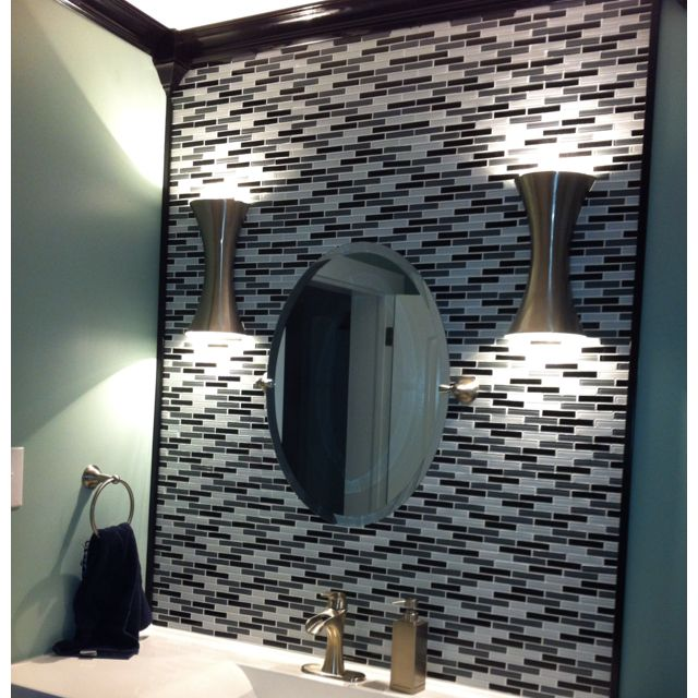 Aqua walls glossy black crown molding white and gray glass tiles also my bathroom that daddy just finished for me