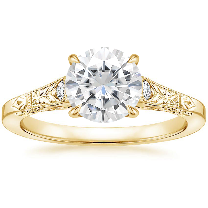 18k Yellow Gold Moissanite Valentina Diamond Ring In 2021 Diamond Bridal Sets Yellow Gold Moissanite White Gold Diamond Rings