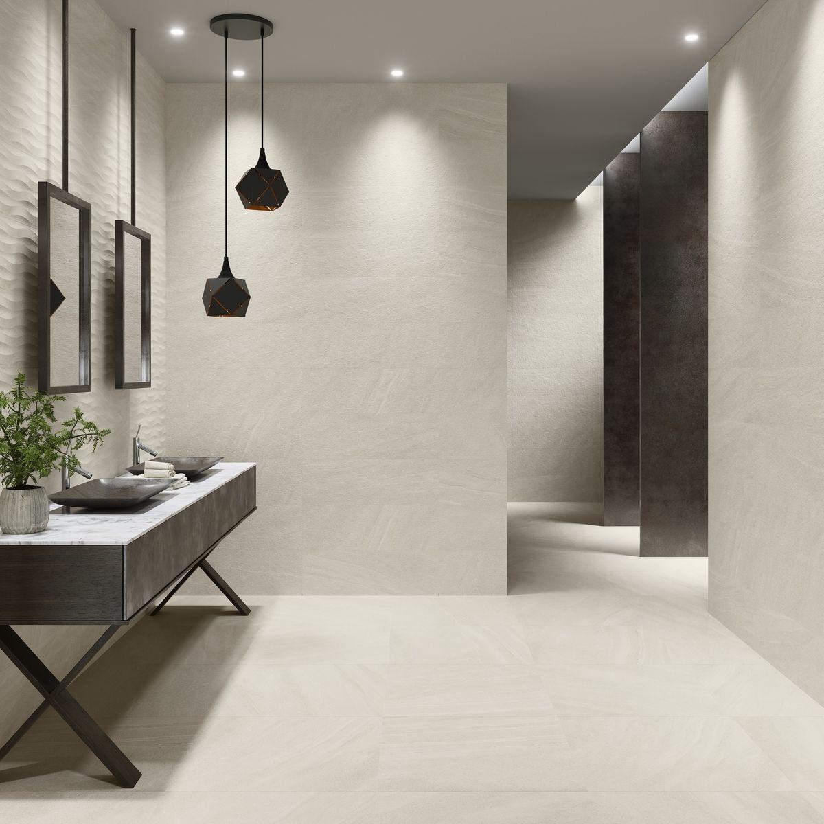 new york cream wave decor tiles  tileflair  white wall