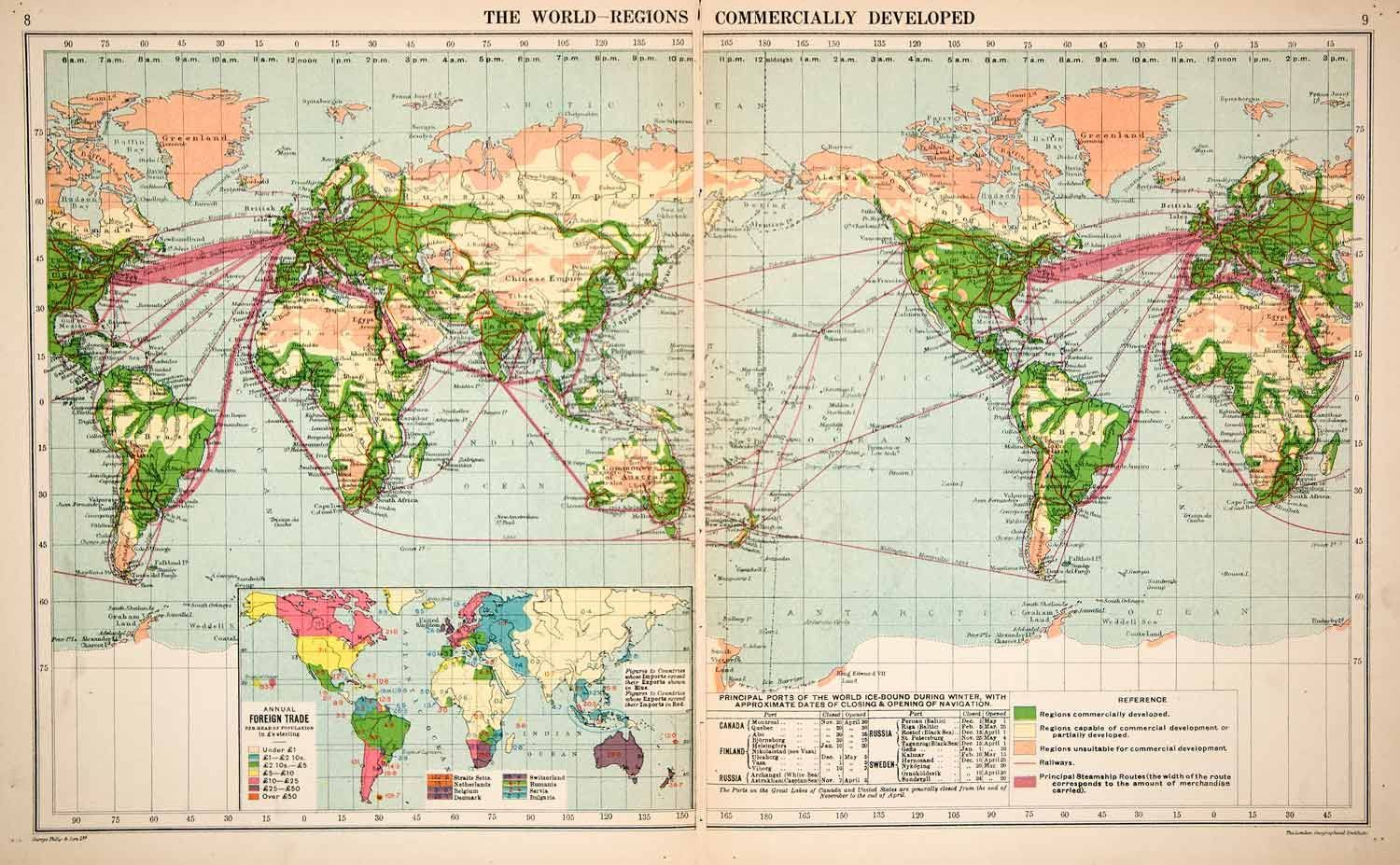 1913 Print Color World Map Trade Route Commercial Steamship Railway XGPC3
