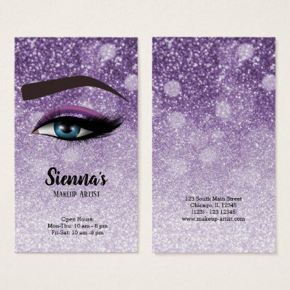 Purple glam lashes eyes makeup artist business card makeup makeup artist business cards reheart Image collections