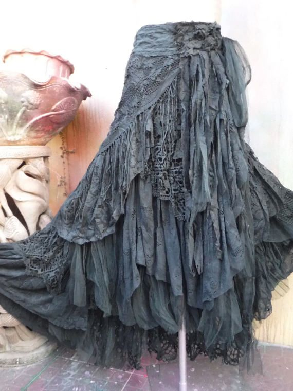 04ae47a629 20%OFF gothic black lace shabby maxi skirt boho mori by wildskin ...