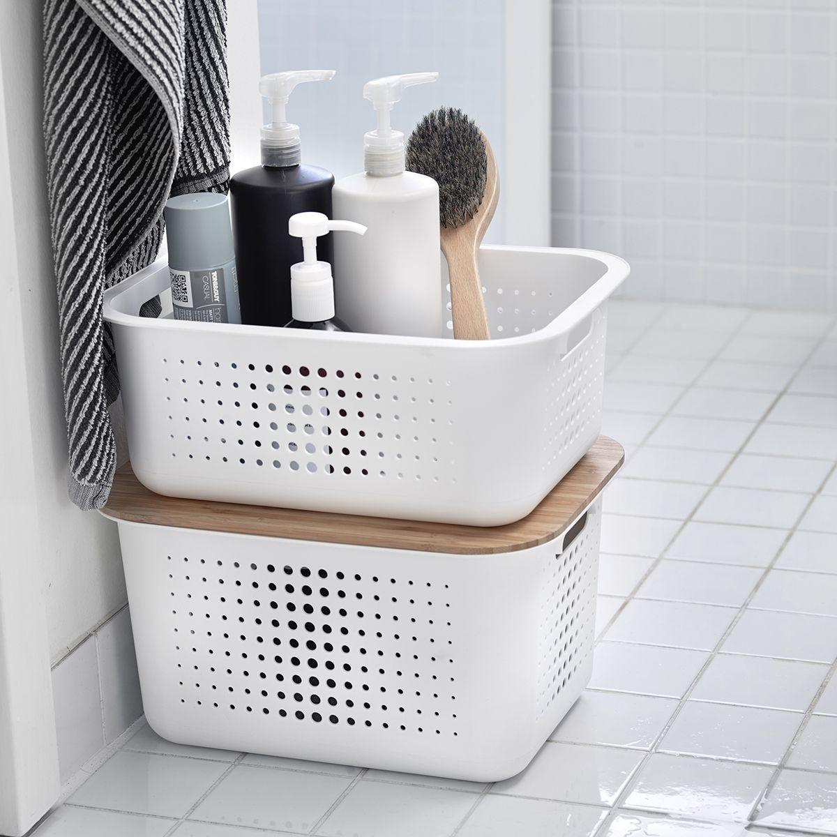 White Nordic Storage Baskets With Handles Bathroom Basket Storage Small Bathroom Organization Storage Baskets