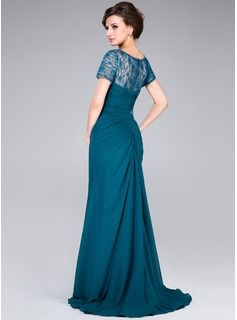 A-Line/Princess Scoop Neck Sweep Train Chiffon Lace Mother of the Bride Dress With Ruffle Beading Sequins (017041170) - JJsHouse