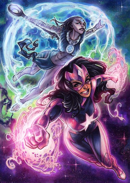 Indigo-1 and Star Sapphire by Meghan Hetrick for Cryptozoic's The Women Of Legend trading card series featuring female characters from the DC Universe.