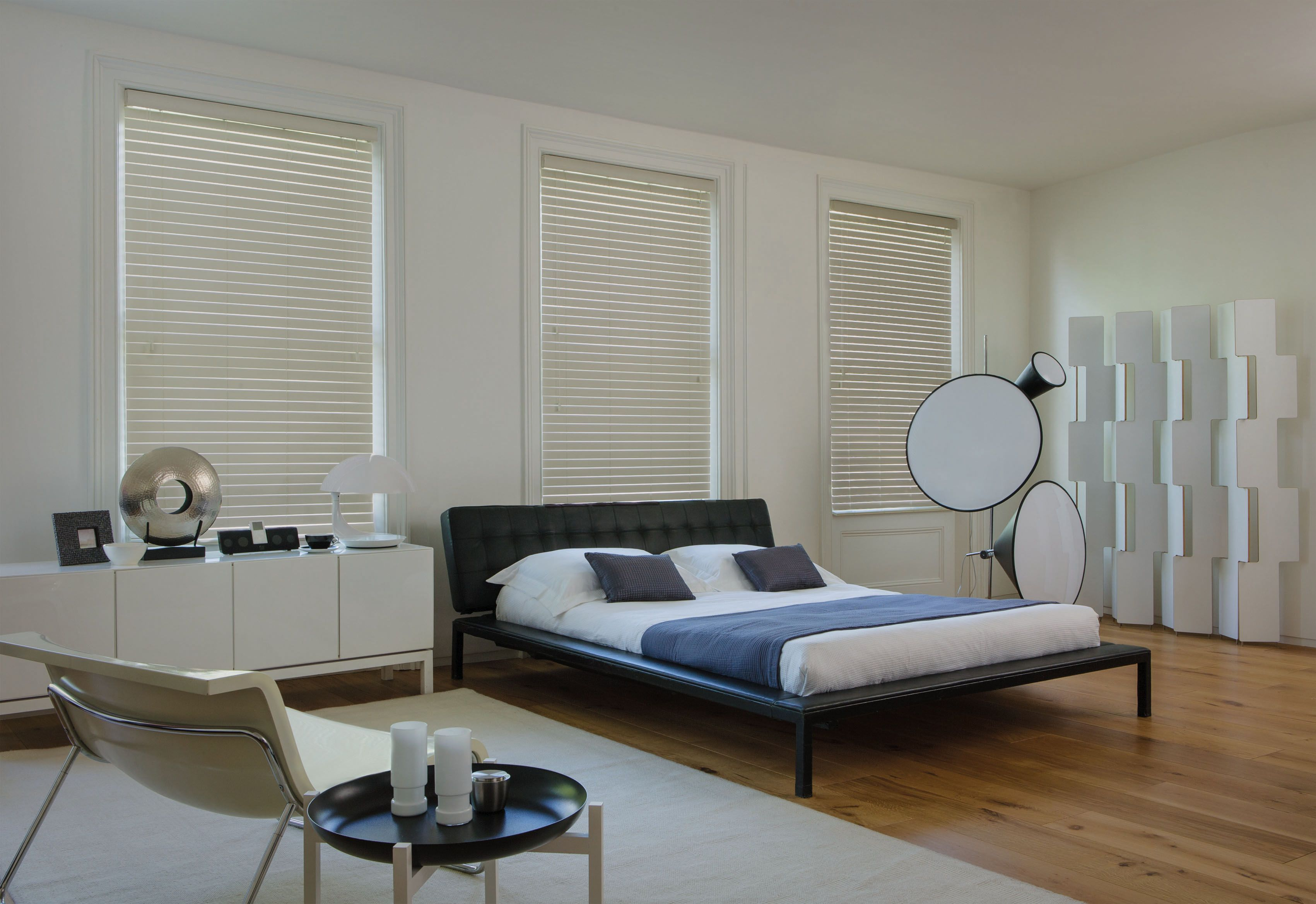 Our Wooden Blinds Look Gorgeous In Any Style Of Bedroom. #woodenblinds  #colourblinds #home #interiordesign #bedroomblinds Please Visit Us At ...