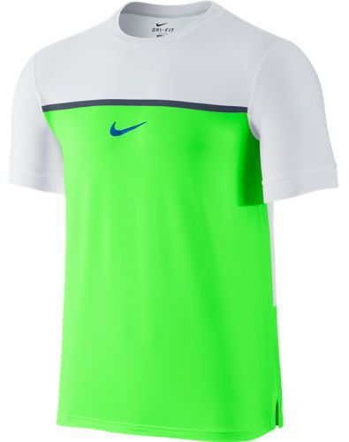 Nike Challenger RAFA Premier Mens Tennis Shirt S Flash Lime Soar 646097 340 #Nike #ShirtsTops