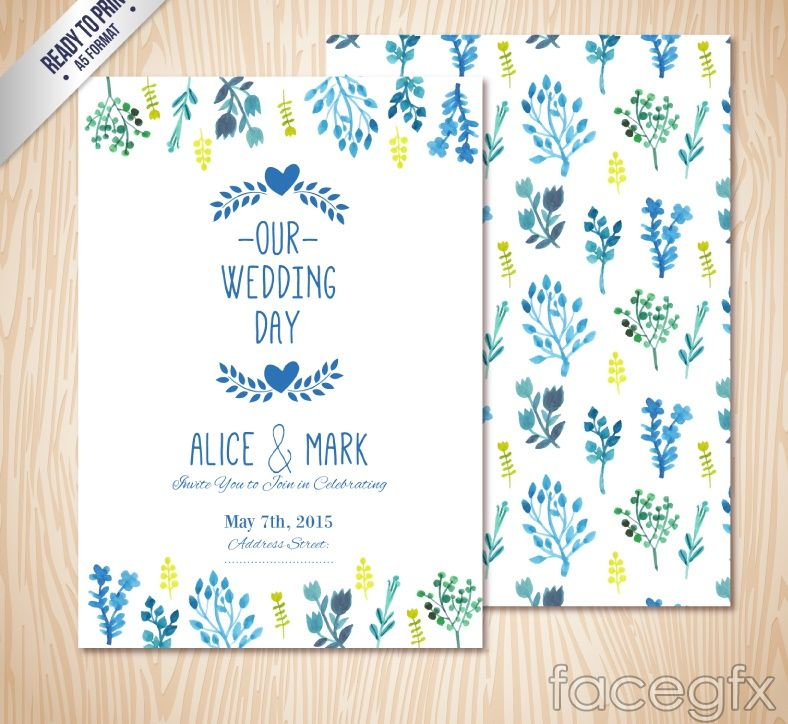 Free download Blue watercolor floral wedding invitation card vector - fresh wedding invitation vector templates free download