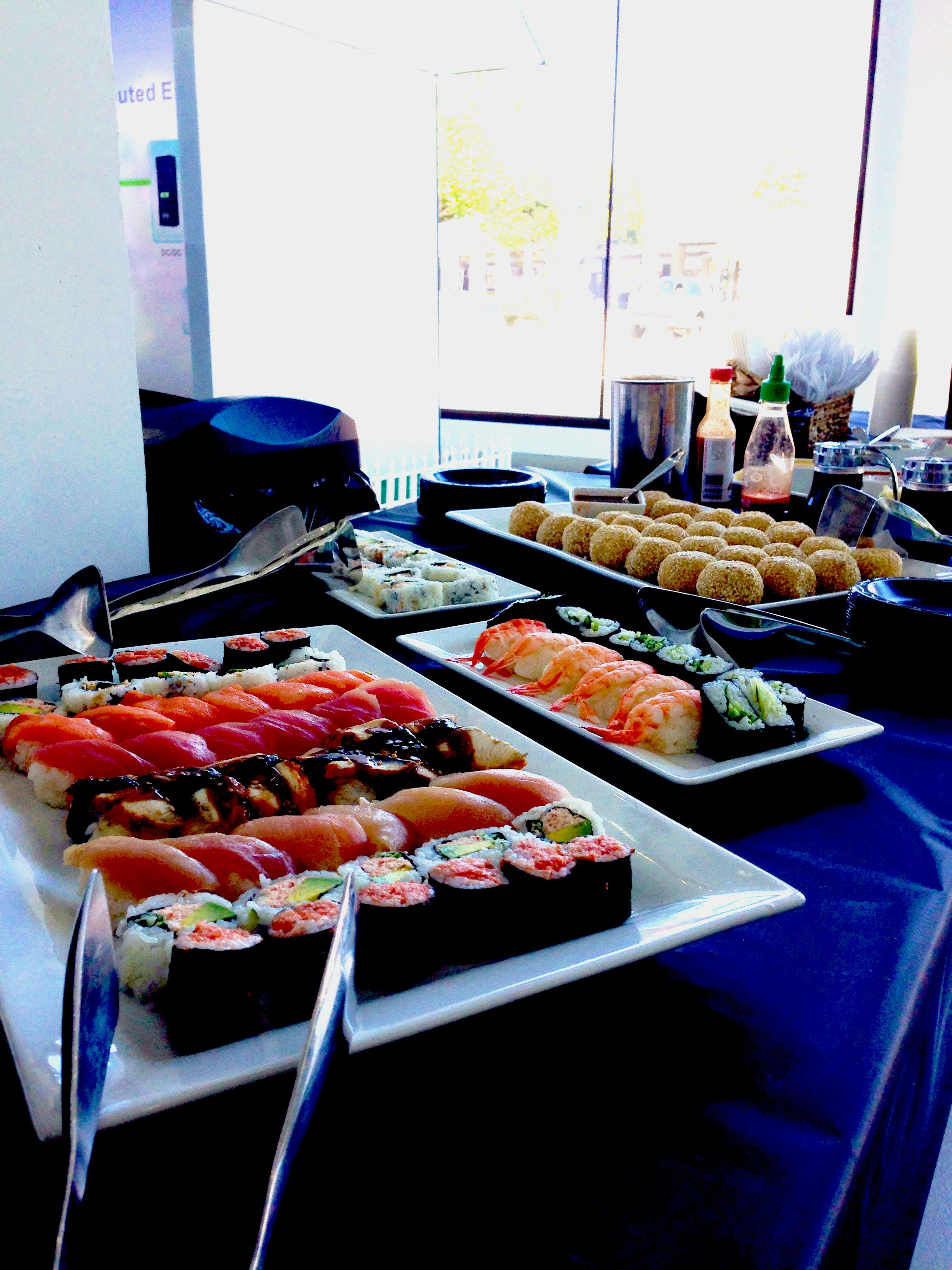 Spice up your next event with sushi platters! #riseandshinecatering #event #sushi #losangeles #foodpics #monday #appetizer #foodblogger