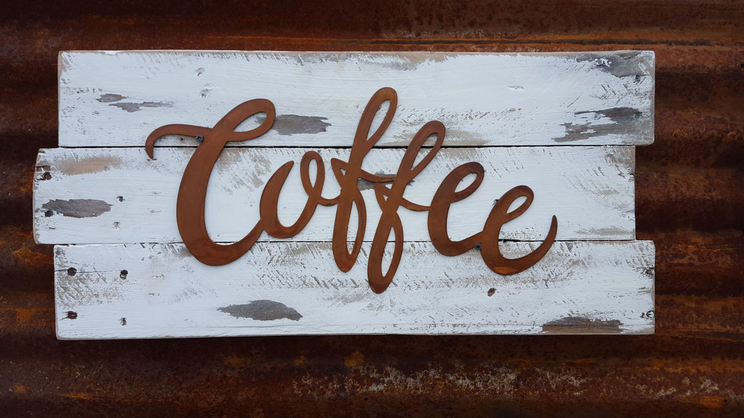 Kitchen Decor Signs Coffee Word Metal Sign Farmhouse Fixer Upper Style Rustic