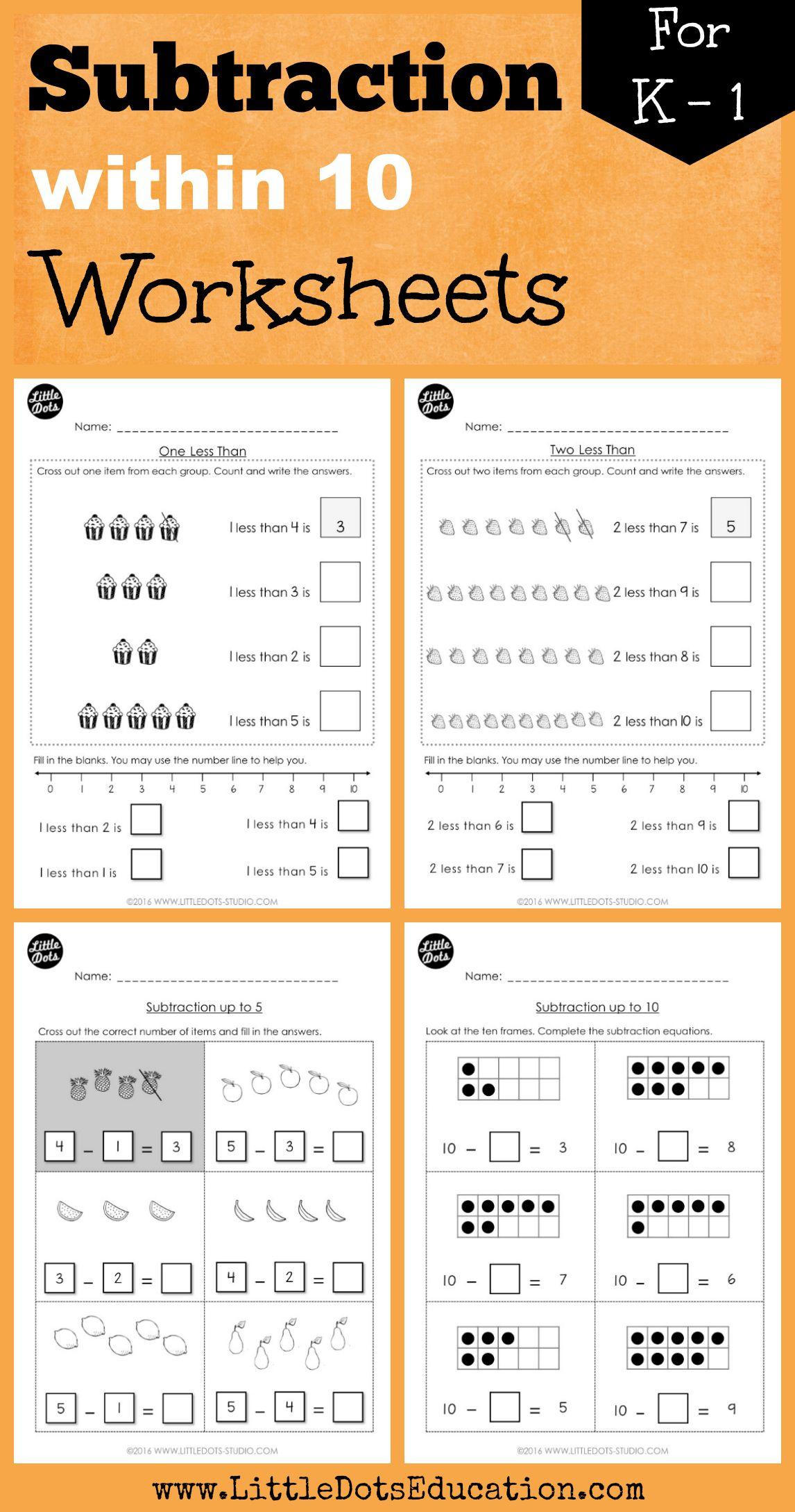 Kindergarten Subtraction Worksheets And Activities With