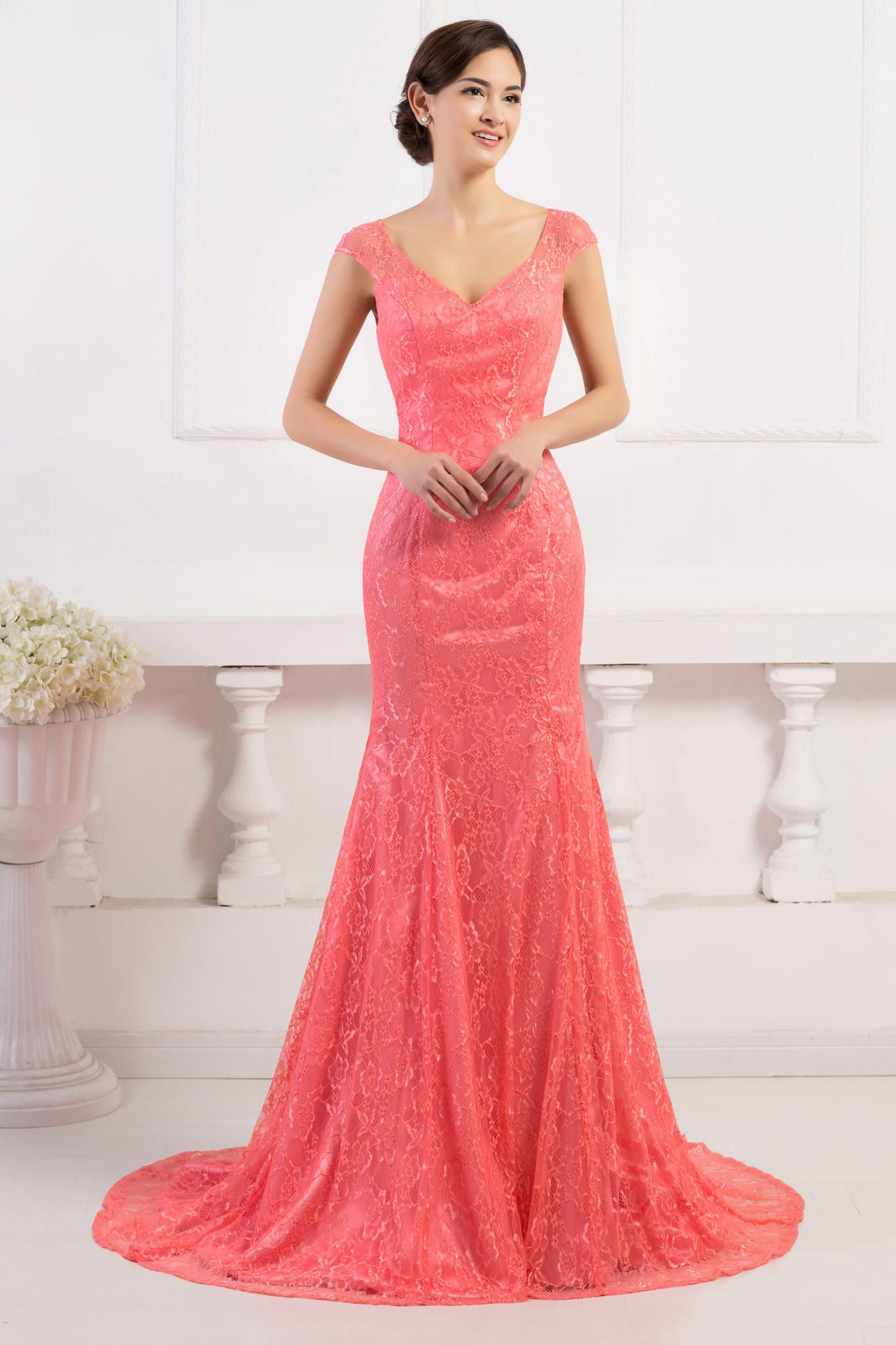 Watermelon red vneck backless mermaid lace evening dress dress me