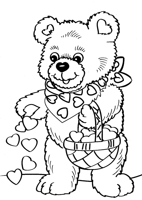 valentine\'s coloring pages | Valentine\'s Day Bear Coloring Page ...